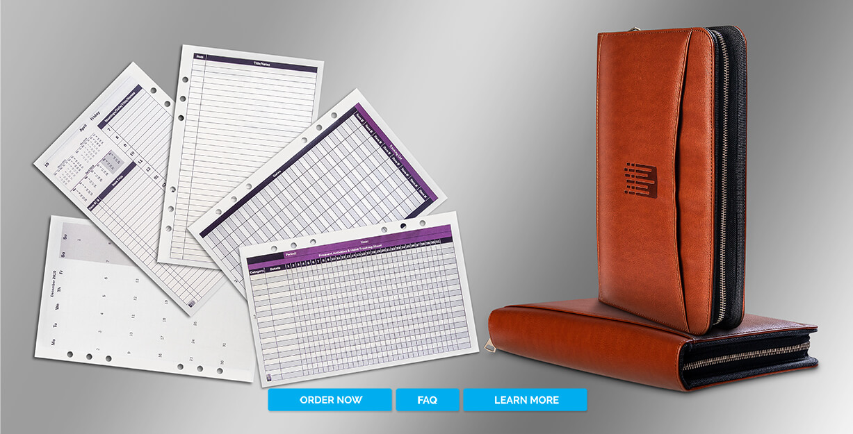 The Mindware agenda planner with five types of its insert pages. Included are the calendar page, the daily items listing page, the note page, the tracking sheet and the frequent activities and habit tracking page.