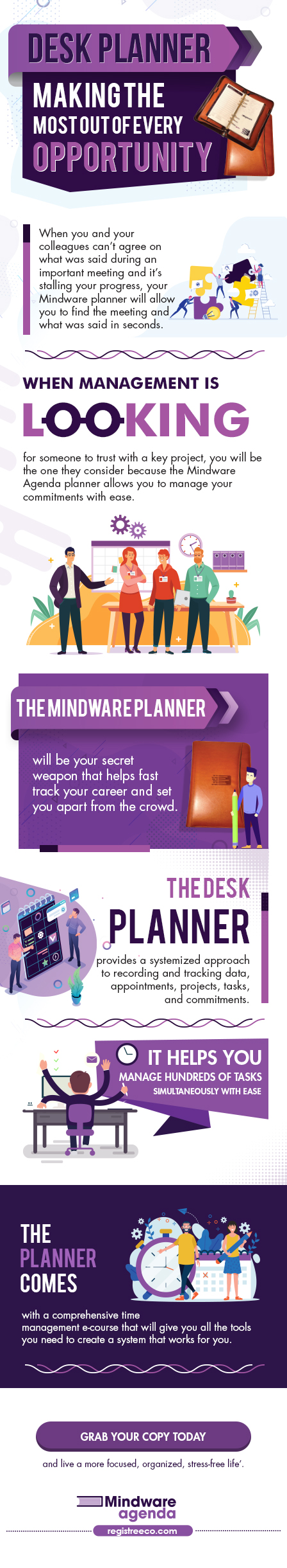 Infographic camparing the top three professional comprehensive daily refillable planners.