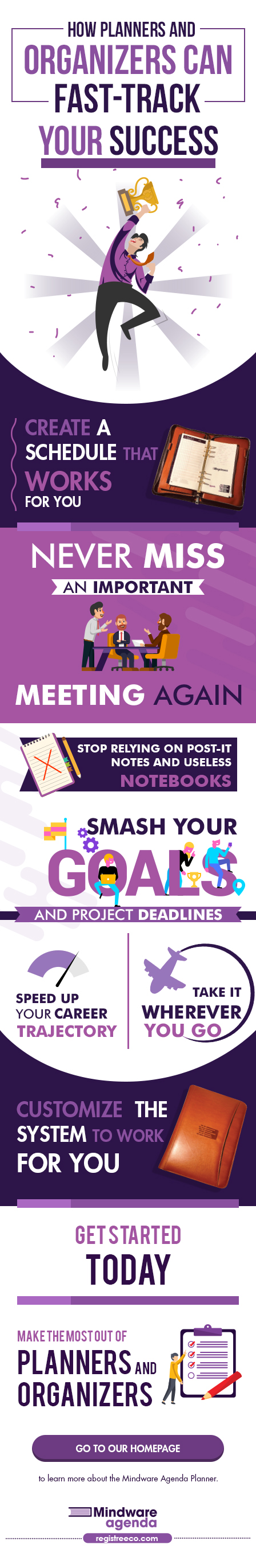 Infographic about planners and organizers and how they can help you better manage the busiest of lifestyles while reducing your personal stress and anxiety.